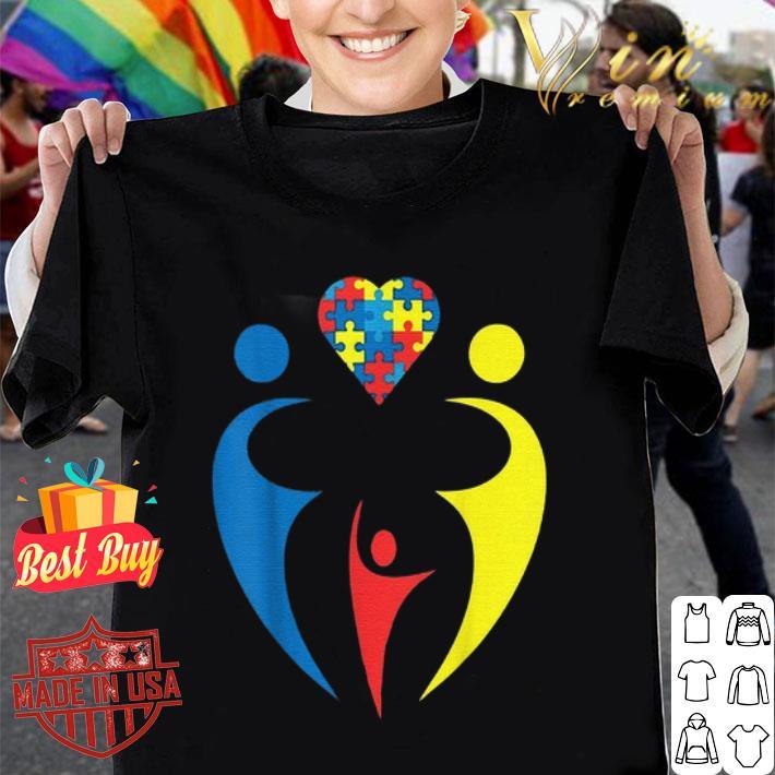 Autism Awarness Family Trio Heart Puzzle shirt