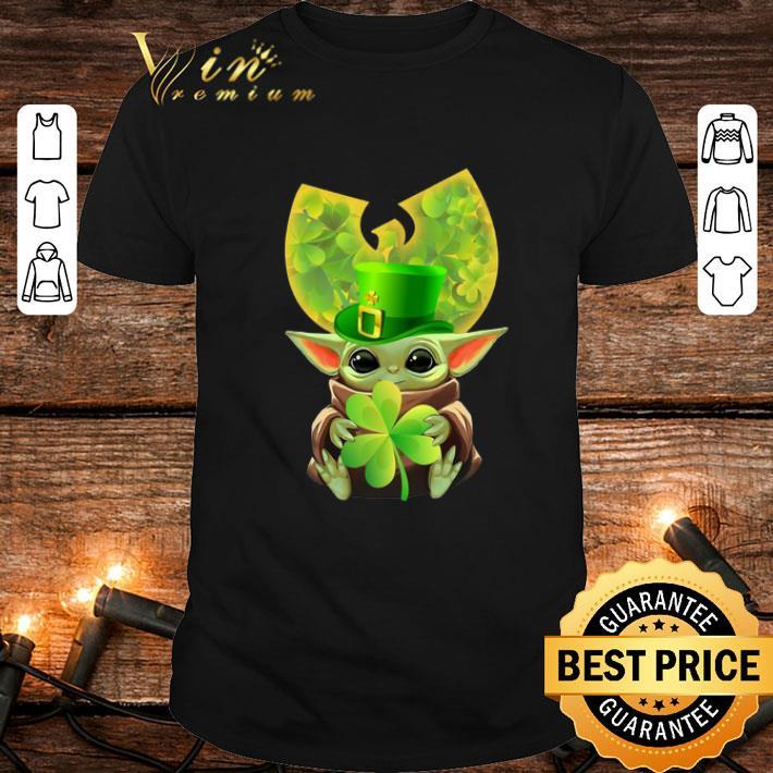Baby Yoda hug Wu Tang Clan Logo St Patrick Day Star Wars shirt