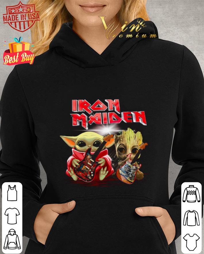 Iron Maiden Baby Yoda and Baby Groot play guitar shirt