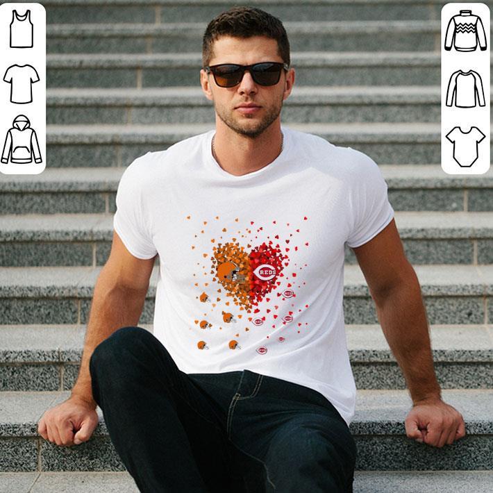 Love Cleveland Browns and Cincinnati Reds Tiny Hearts Shape shirt
