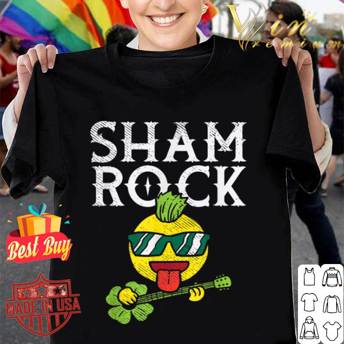 Shamrock Rocker Emojis Punk Guitar Funny St Patricks Day T-shirt
