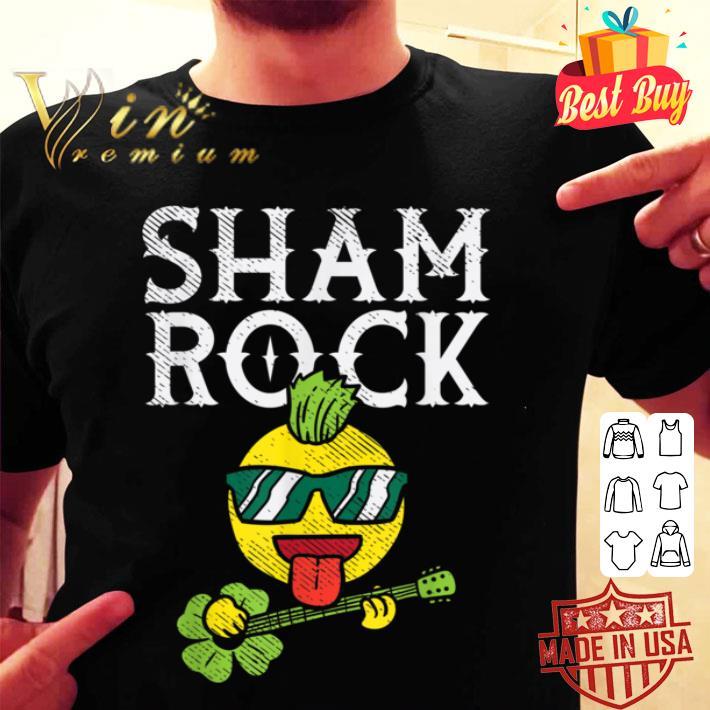 Shamrock Rocker Emojis Punk Guitar Funny St Patricks Day T-shirt