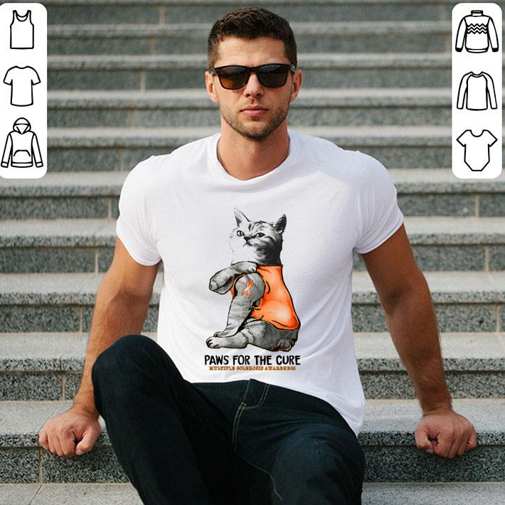 Tattoos cat paws for the cure Multiple Sclerosis Awareness shirt