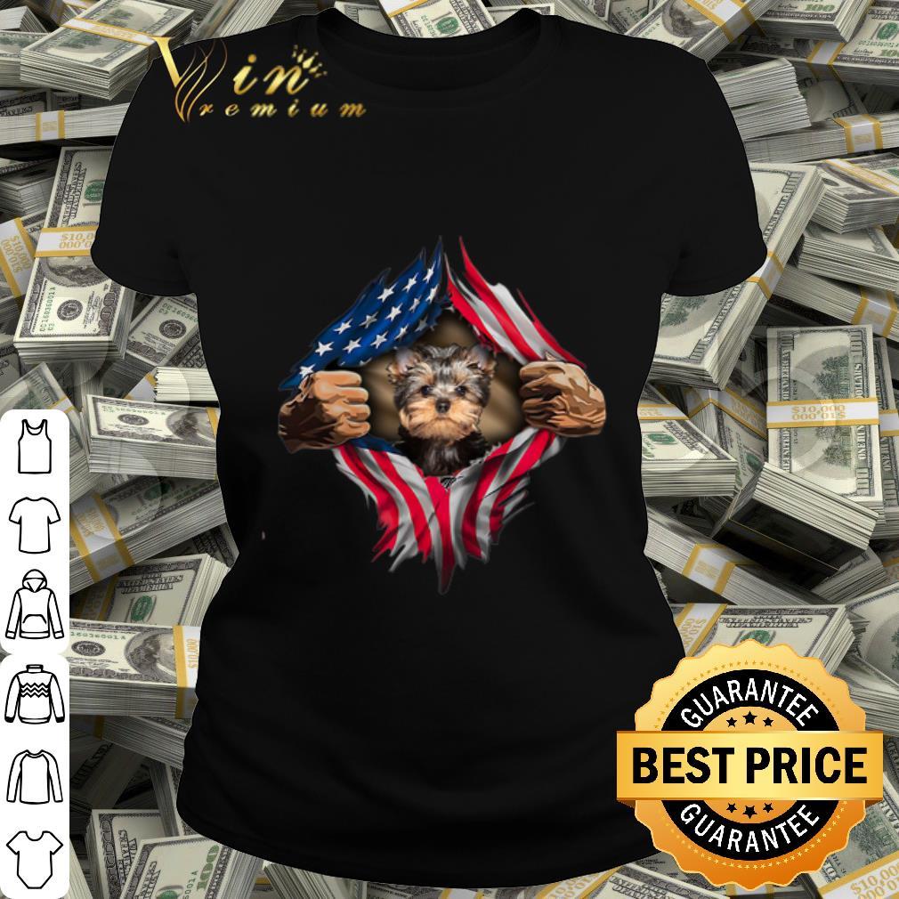 Yorkshire Terrier blood inside me American flag shirt