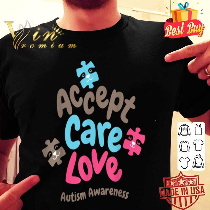 Accept Care Love Teacher Autism Awareness Women Kids shirt