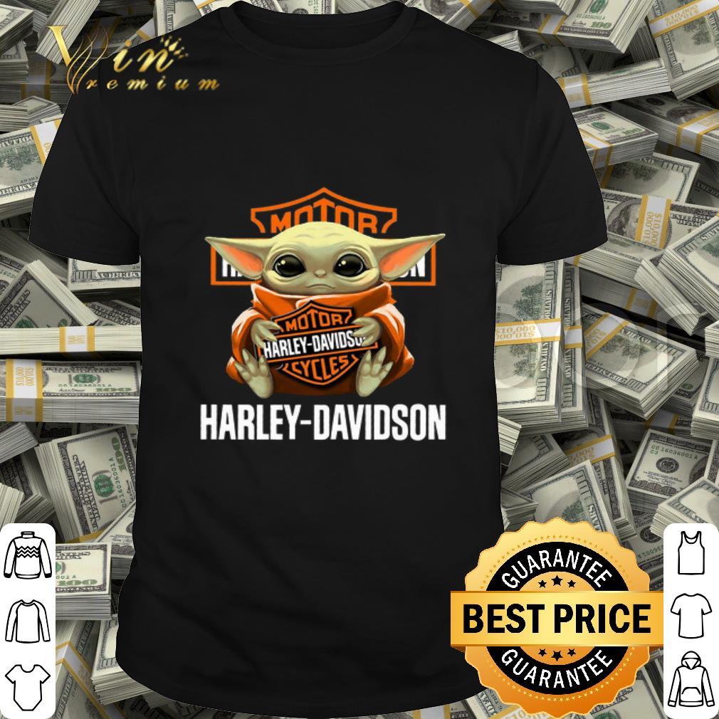 Baby Yoda hug Motor Harley Davidson Cycles logo shirt