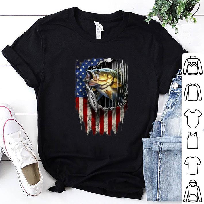 Fishing your name American flag shirt