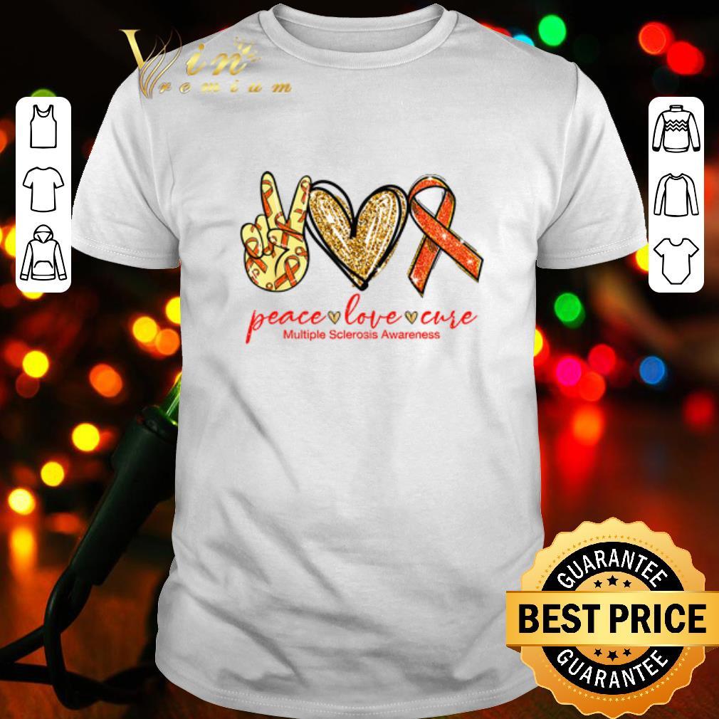 Glitter Peace Love Cure Multiple Sclerosis Awareness shirt