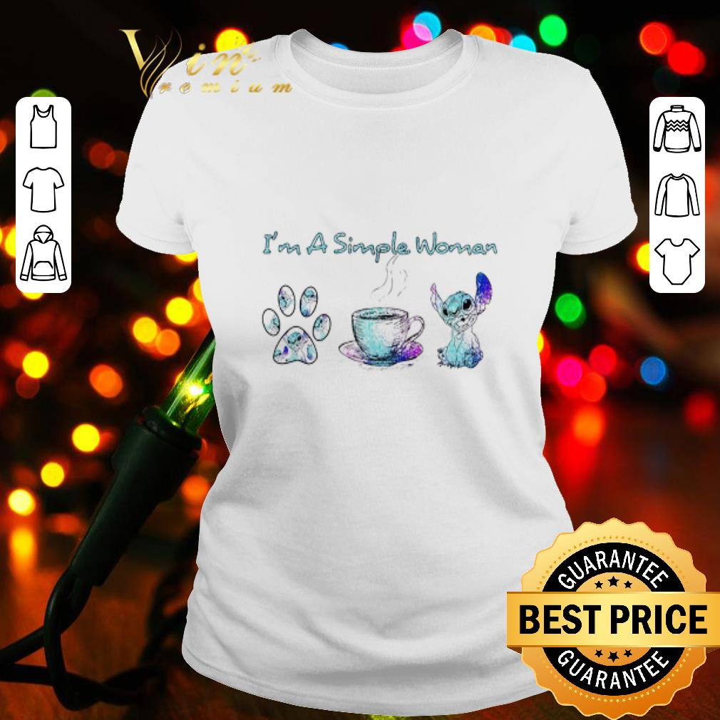 I'm a simple woman I like dog paw coffee and Stitch Disney shirt