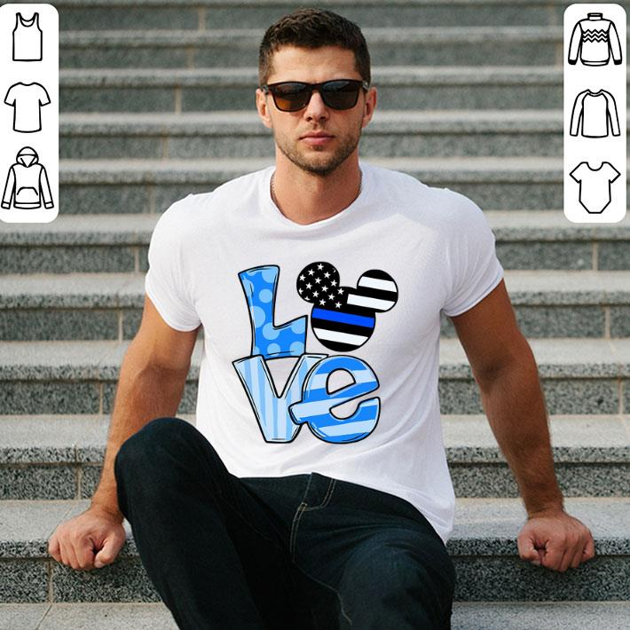 Mickey Mouse Love Thin Blue Line Flag shirt