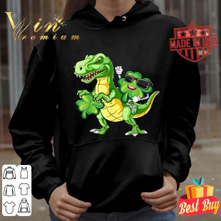 Shamrock Riding Dinosaur T rex St Patricks Day Gift T-shirt