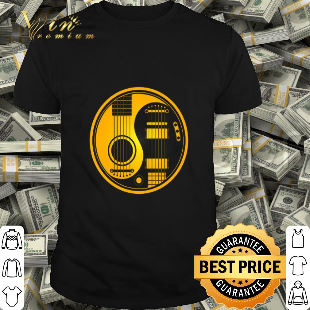 Yellow and Black Acoustic Electric Guitars Yin Yang Baseball shirt