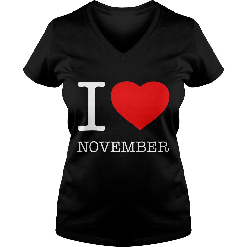 I Love November V Neck