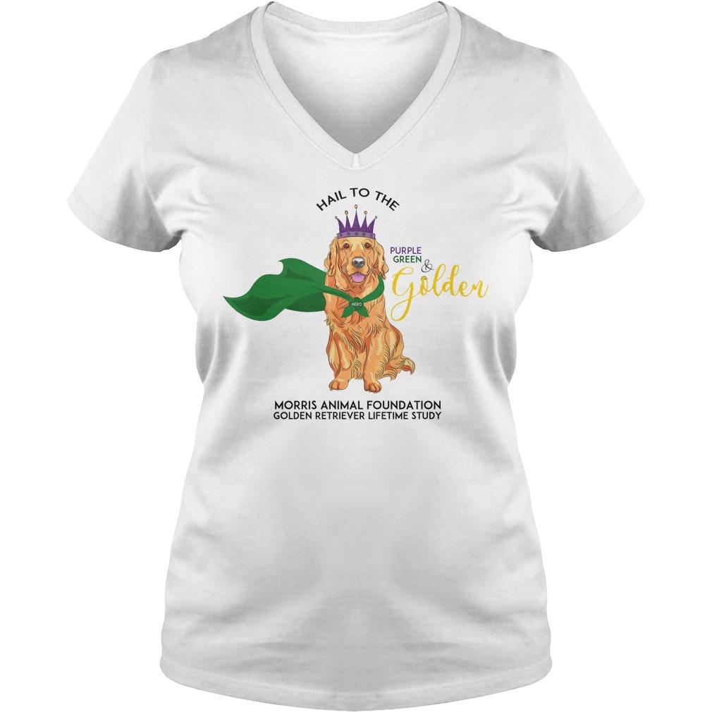 Grls Mardi Paws Hail To The Purple Green & Golden V Neck