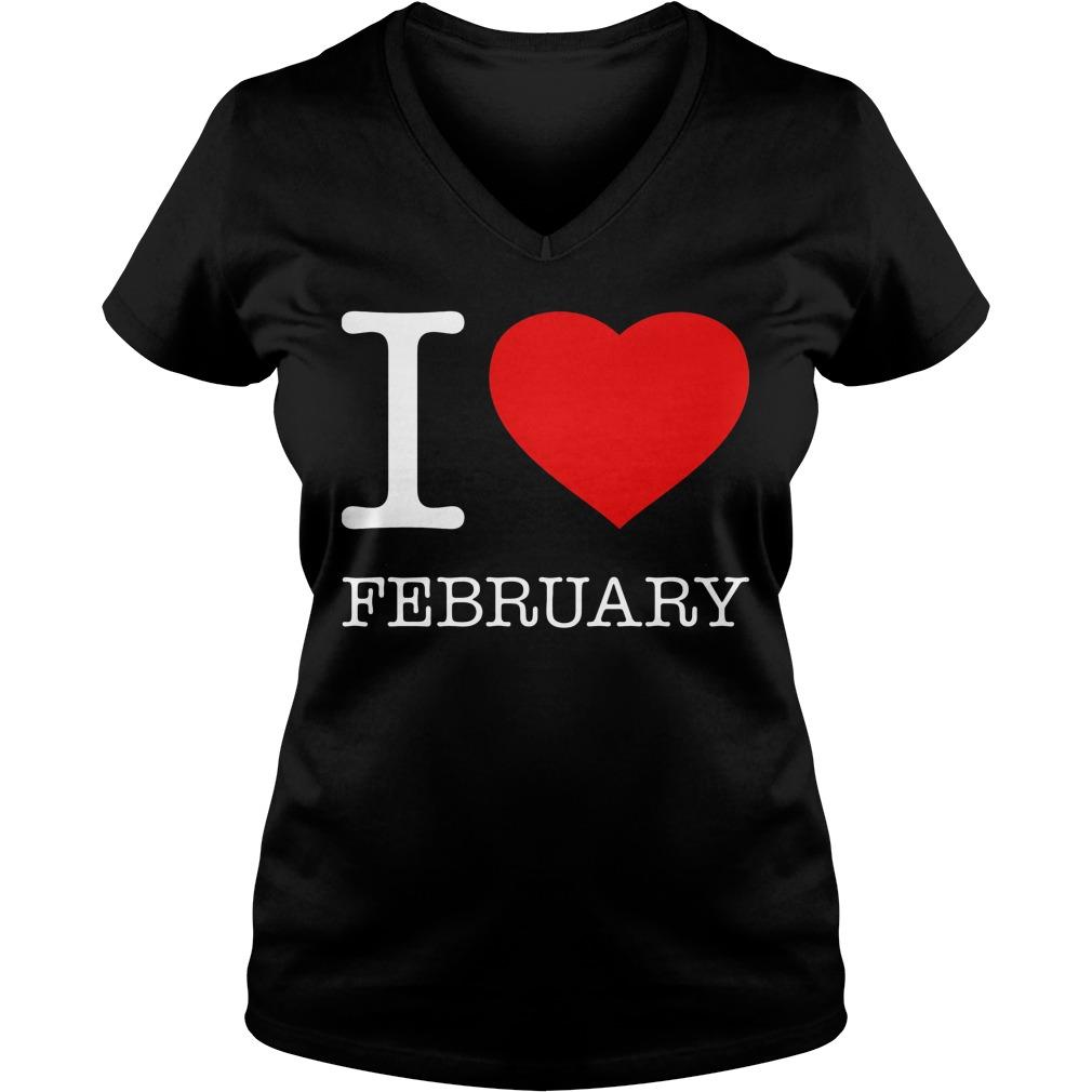 I Love February V Neck
