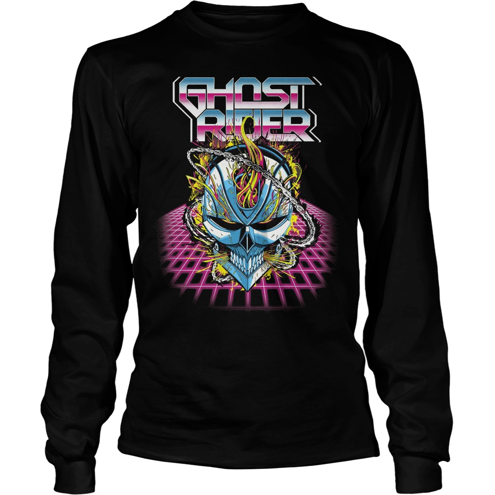 Marvel Ghost Rider Super 80s Retro Neon Grid Longslevee