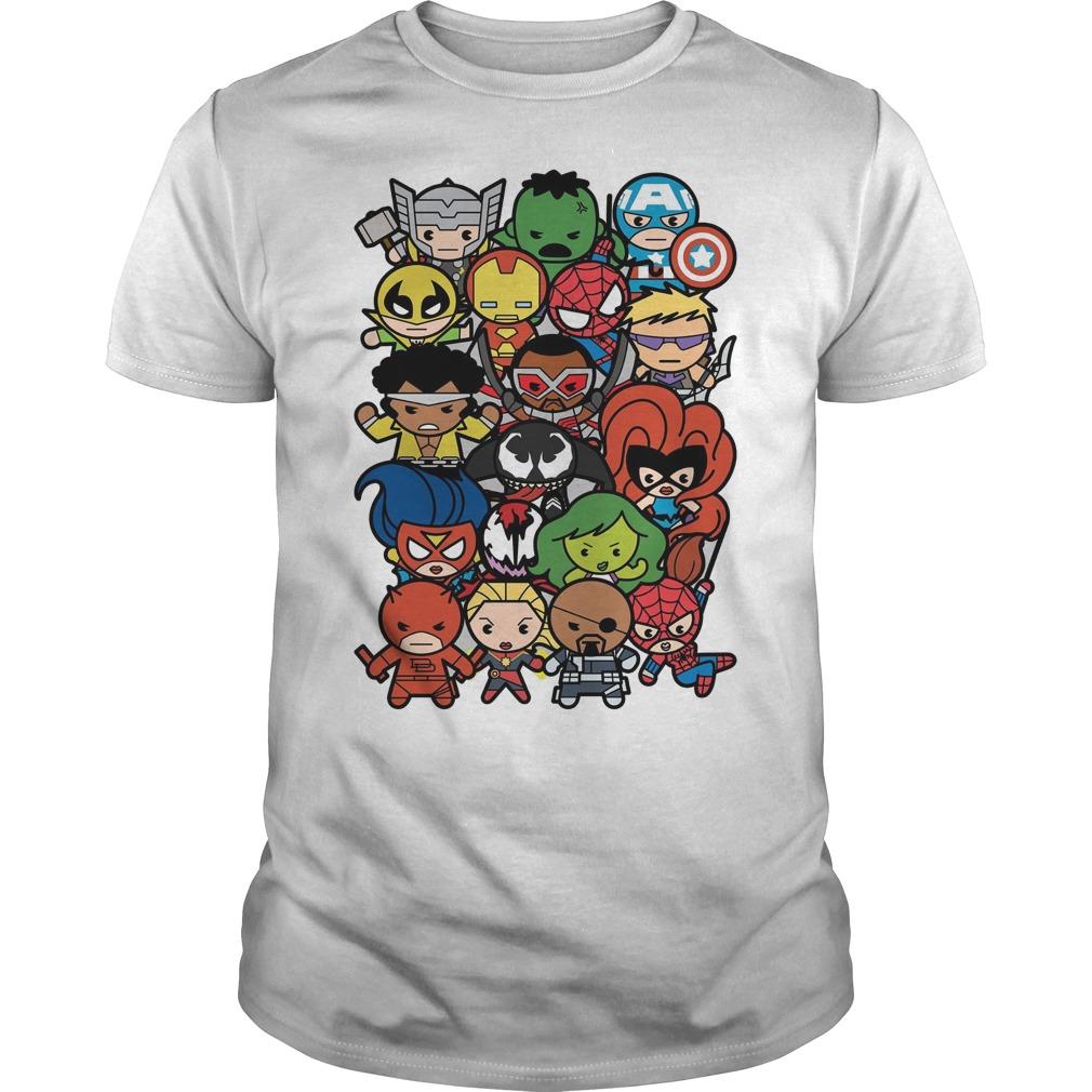 Marvel Heroes And Villains Team Kawaii Graphic Shirt