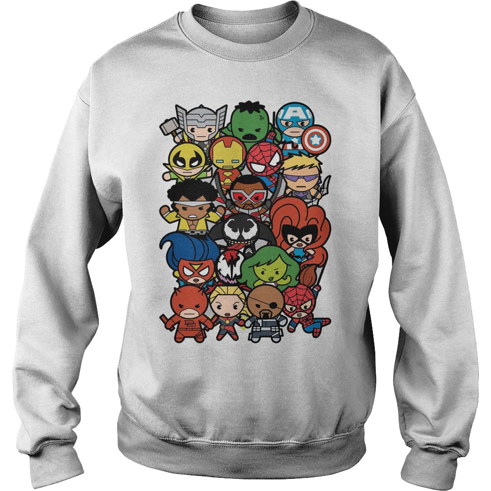 Marvel Heroes And Villains Team Kawaii Graphic Sweater