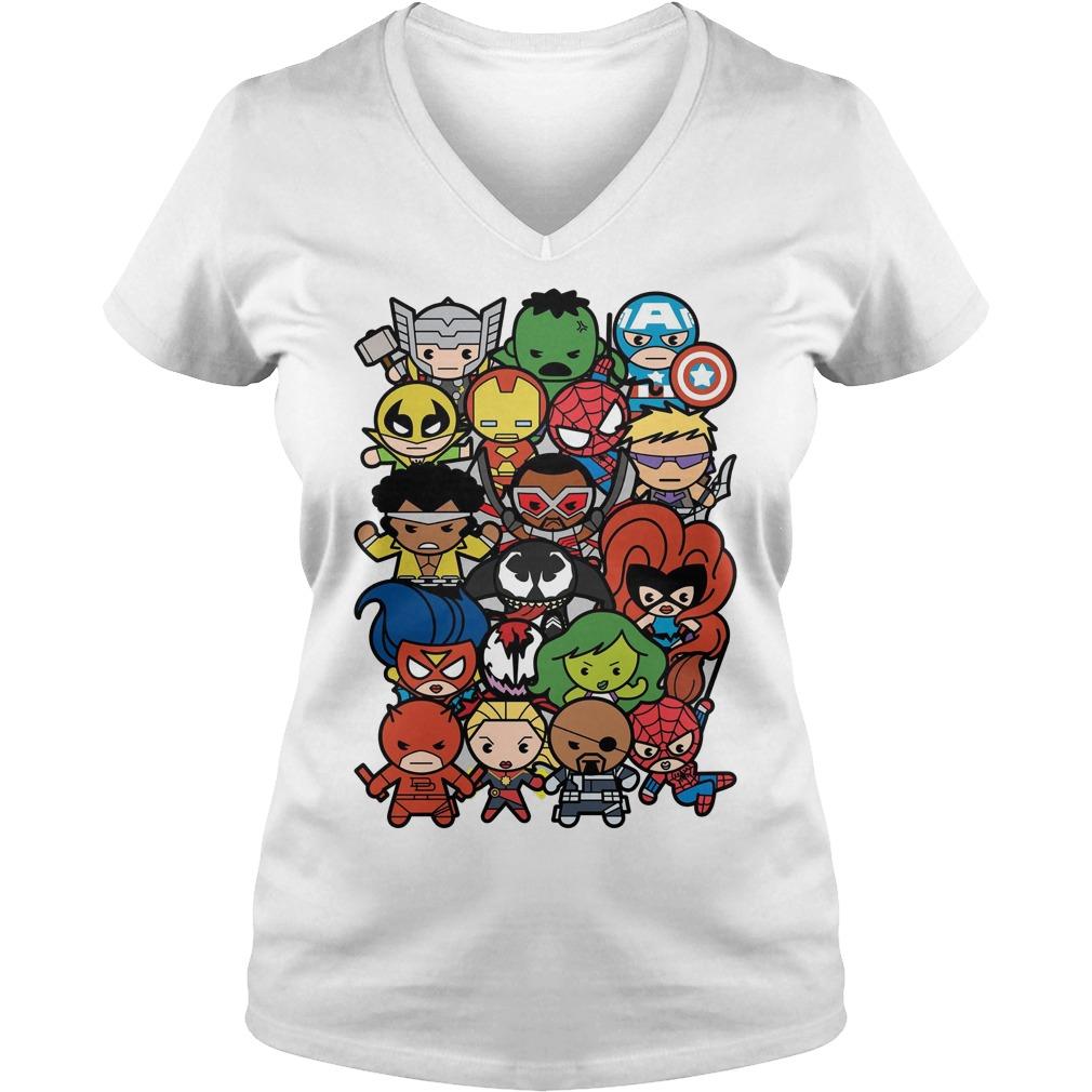 Marvel Heroes And Villains Team Kawaii Graphic V Neck