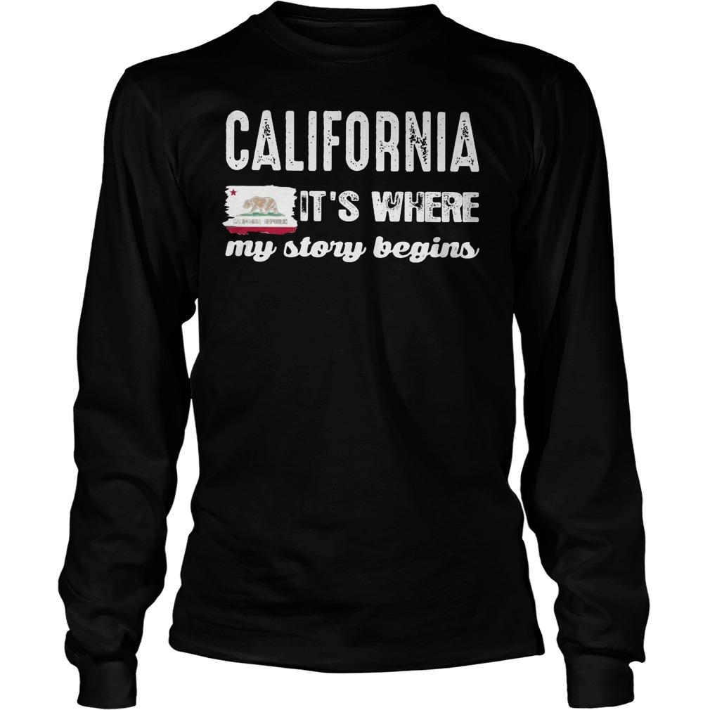 The California Bear Flag Republic It's Where My Story Begins Longsleeve