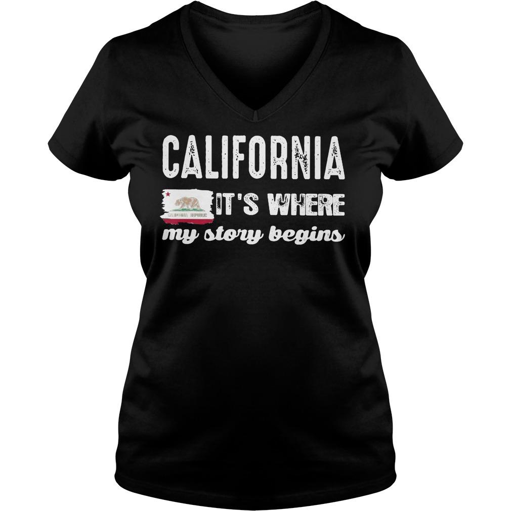 The California Bear Flag Republic It's Where My Story Begins V Neck