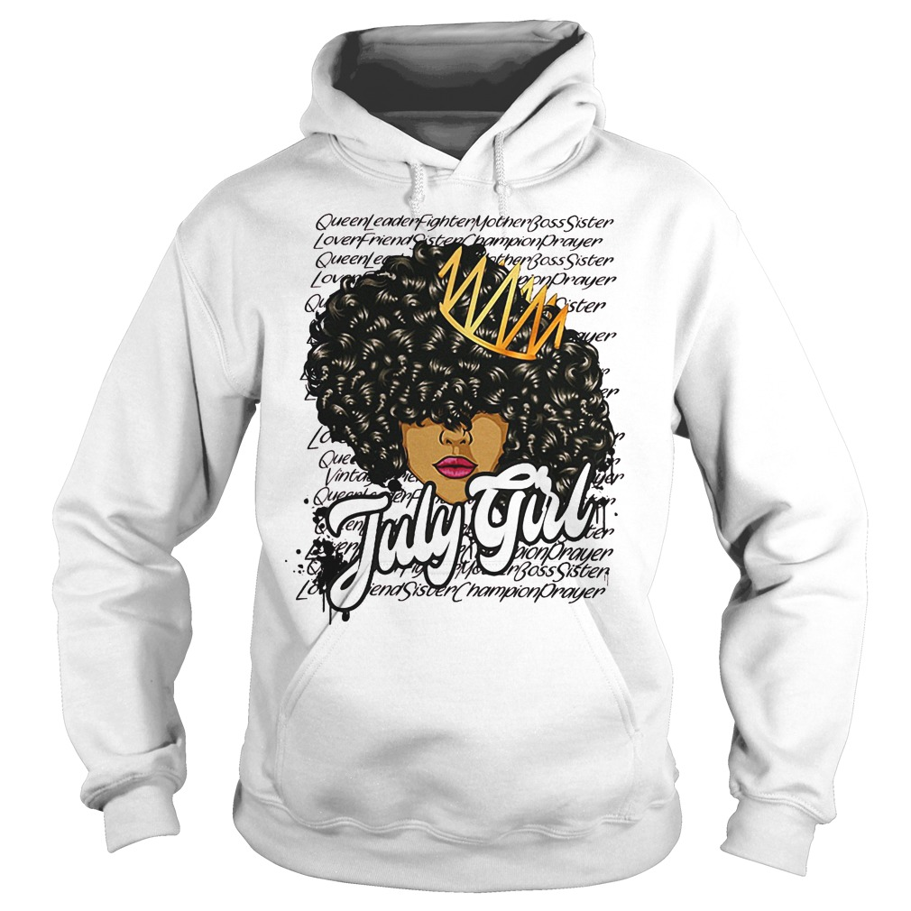 July Girl With Curly Hair Hoodie