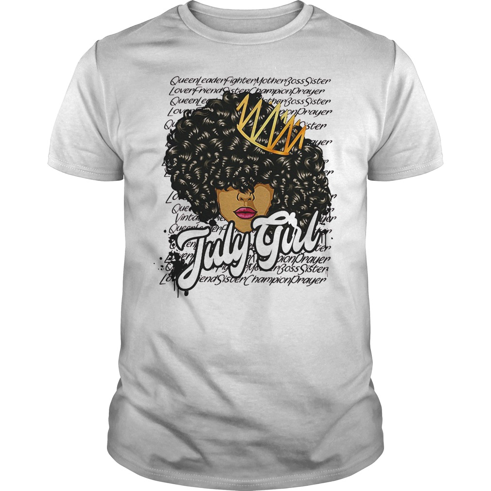 July Girl With Curly Hair Shirt