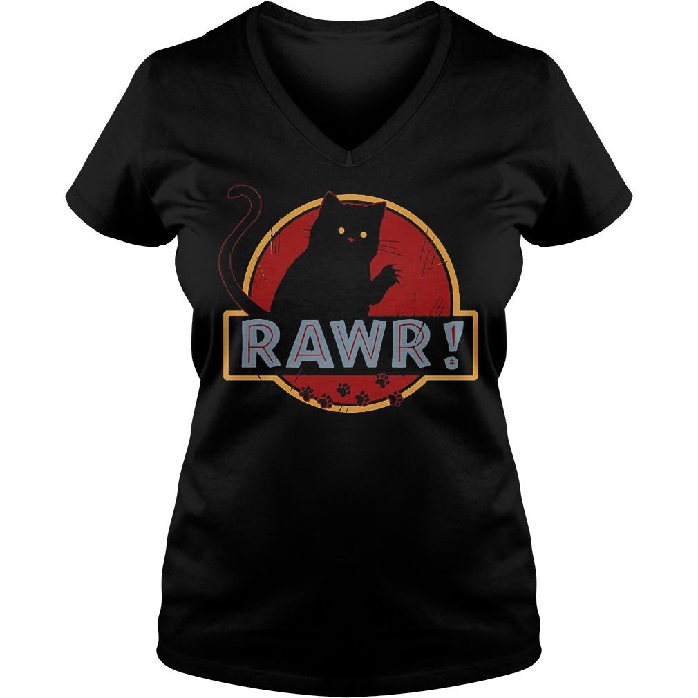 Black Cat Rawr V Neck