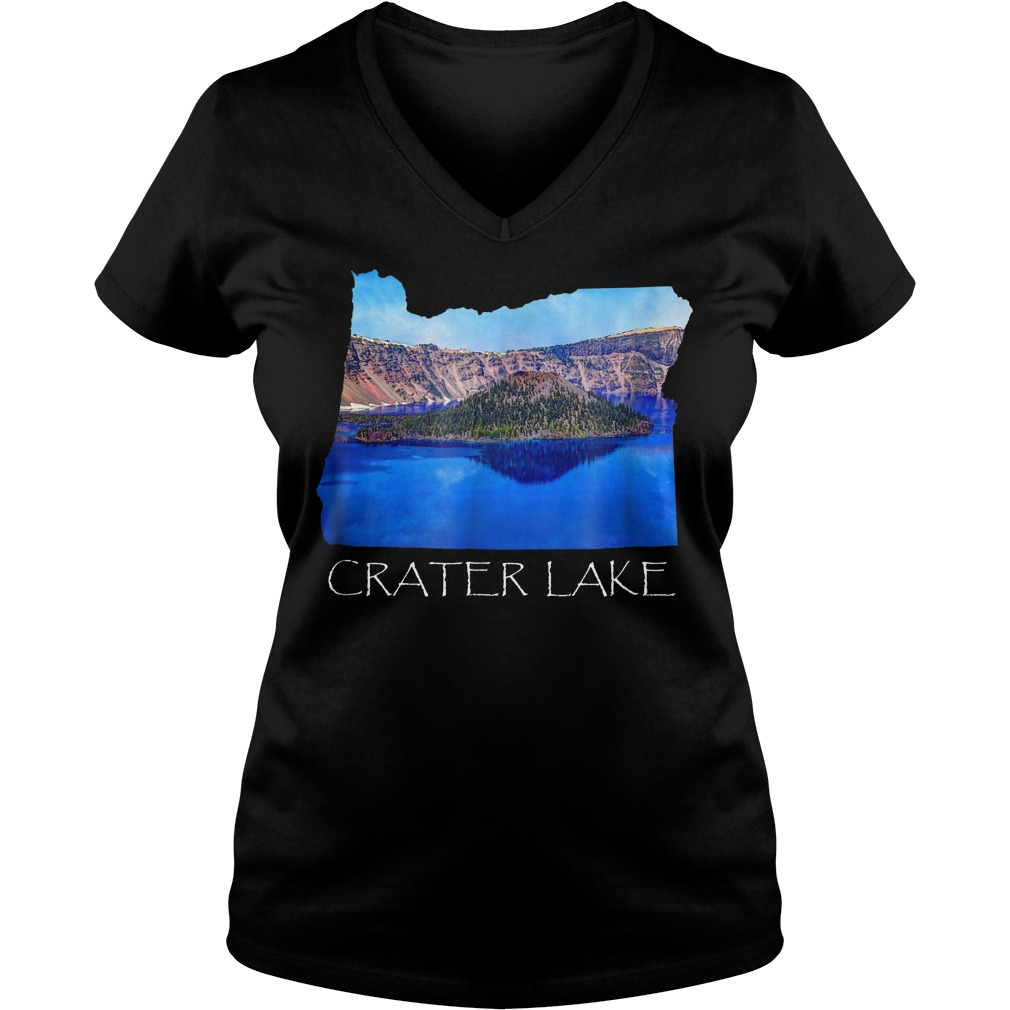 Crater Lake National Park Photo in Oregon State Souvenir T-Shirt Ladies V-Neck