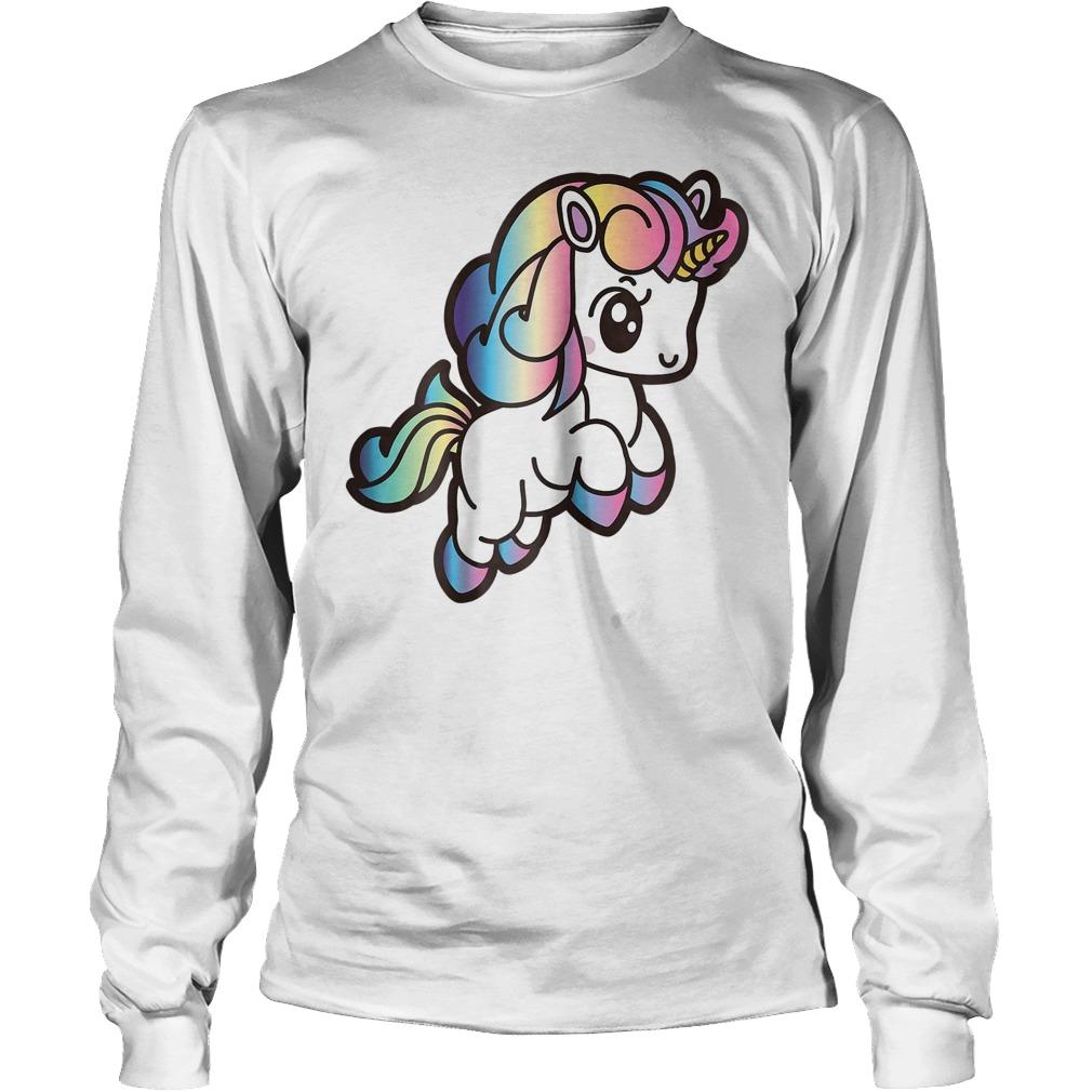 Cute Unicorn With Rainbow Colors Longsleeve