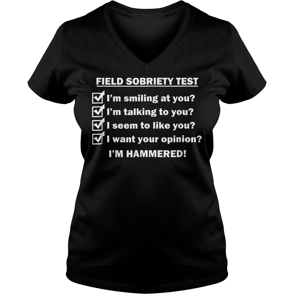 Field Sobriety Test I'm Smiling At You T-Shirt Ladies V-Neck