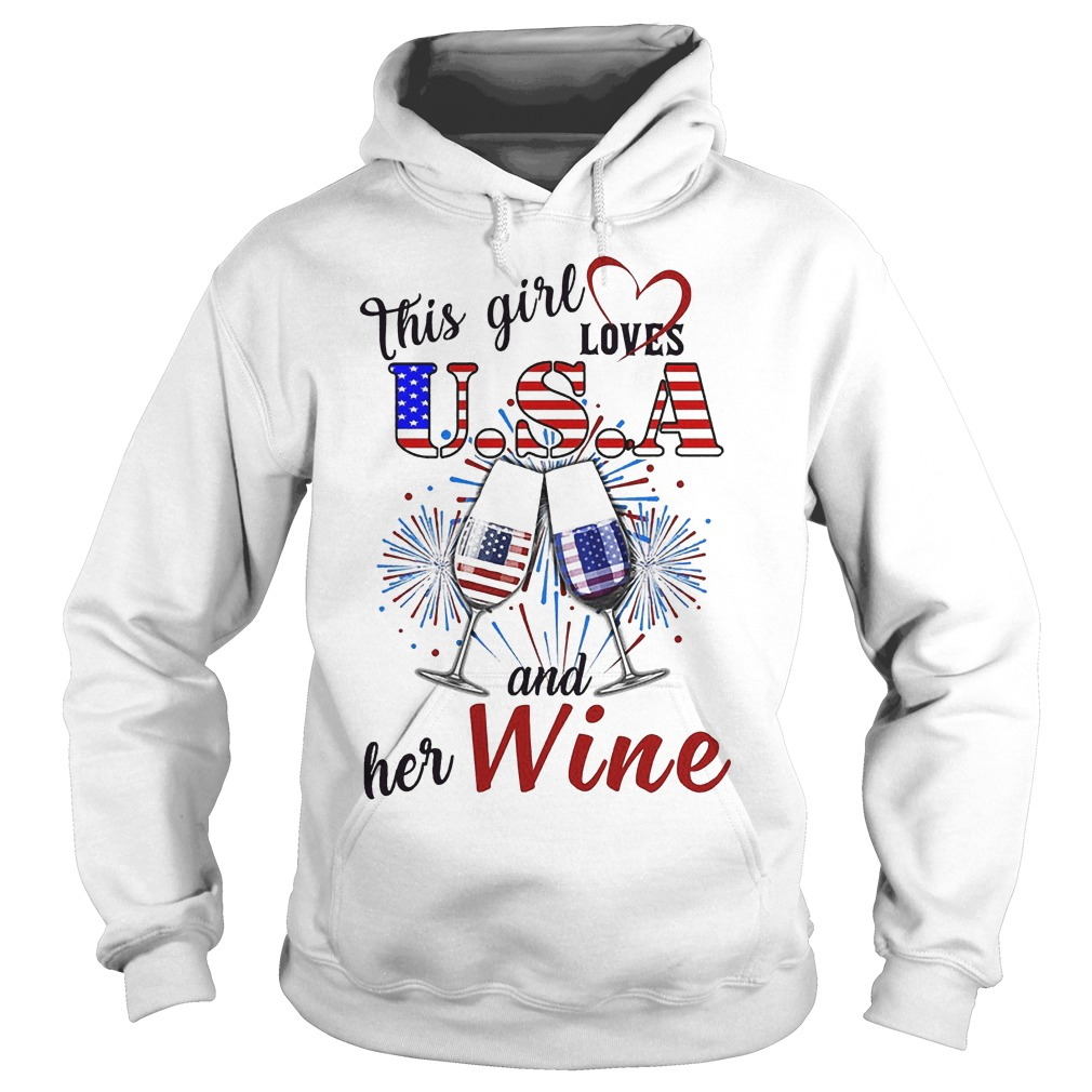 This Girl Loves U.s.a And Her Wine Hoodie