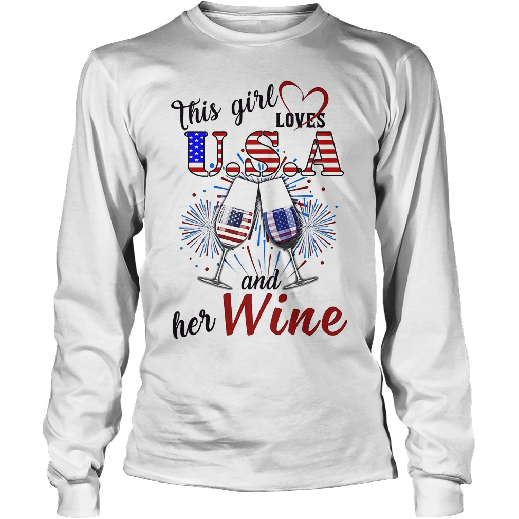 This Girl Loves U.s.a And Her Wine Longsleeve