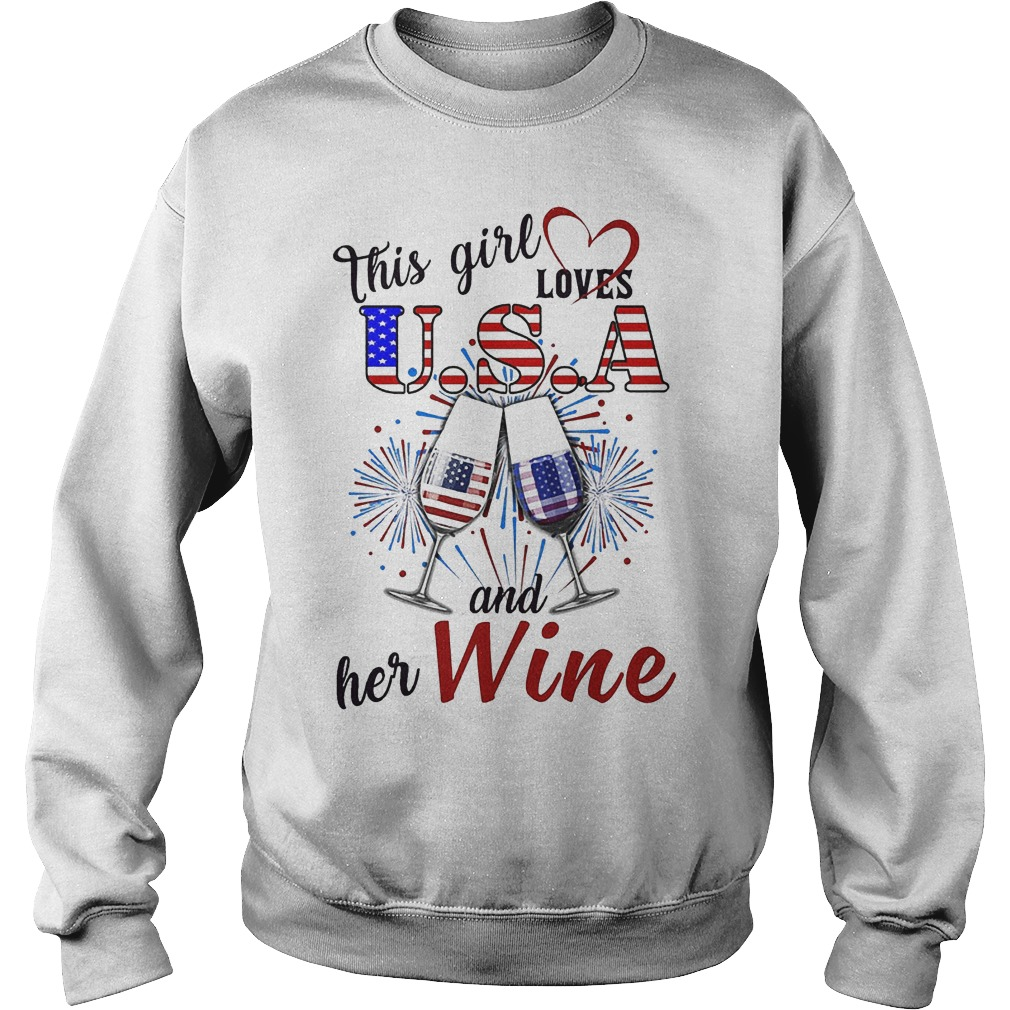 This Girl Loves U.s.a And Her Wine Sweater