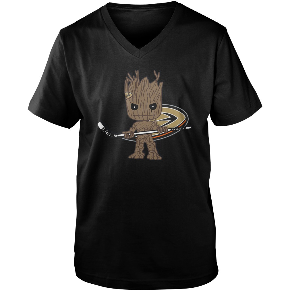 Baby Groot I Am Ice Hockey Player Team Anaheim Ducks T-Shirt Guys V-Neck