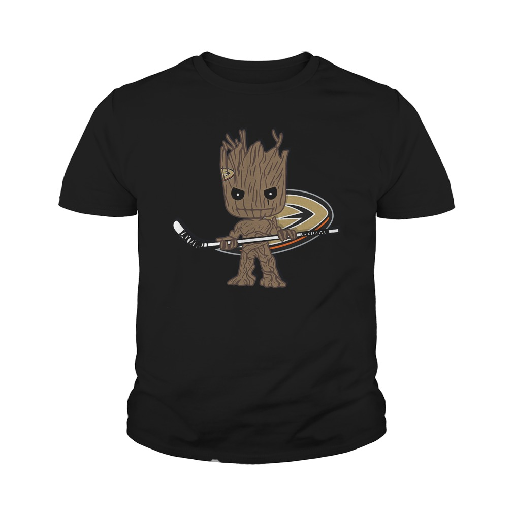 Baby Groot I Am Ice Hockey Player Team Anaheim Ducks T-Shirt Youth Tee