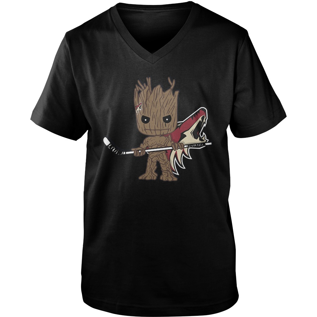 Baby Groot I Am Ice Hockey Player Team Arizona Coyotes T-Shirt Guys V-Neck