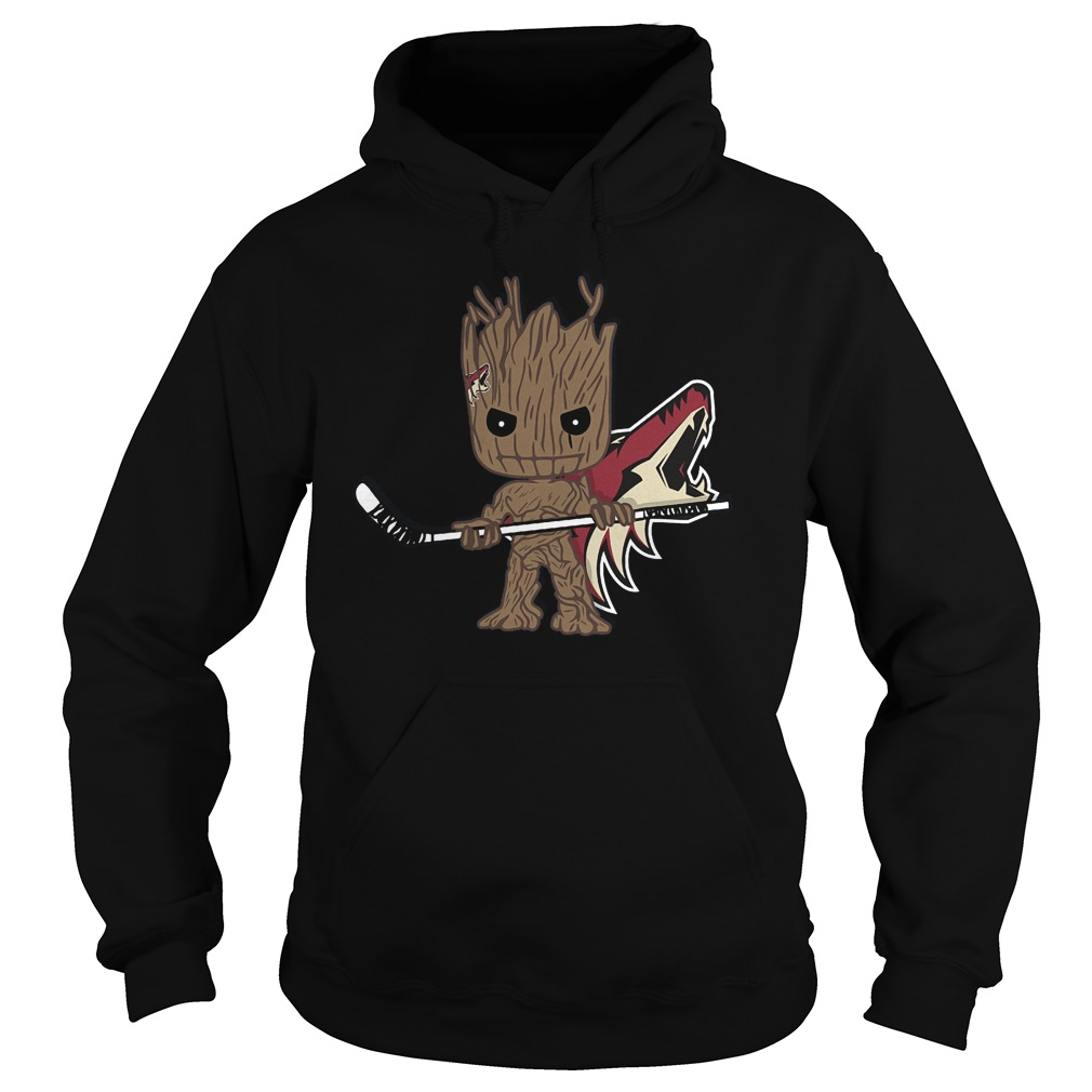 Baby Groot I Am Ice Hockey Player Team Arizona Coyotes T-Shirt Hoodie