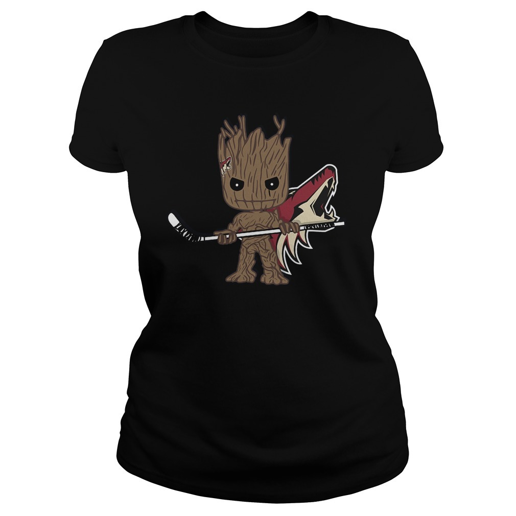 Baby Groot I Am Ice Hockey Player Team Arizona Coyotes T-Shirt Ladies Tee