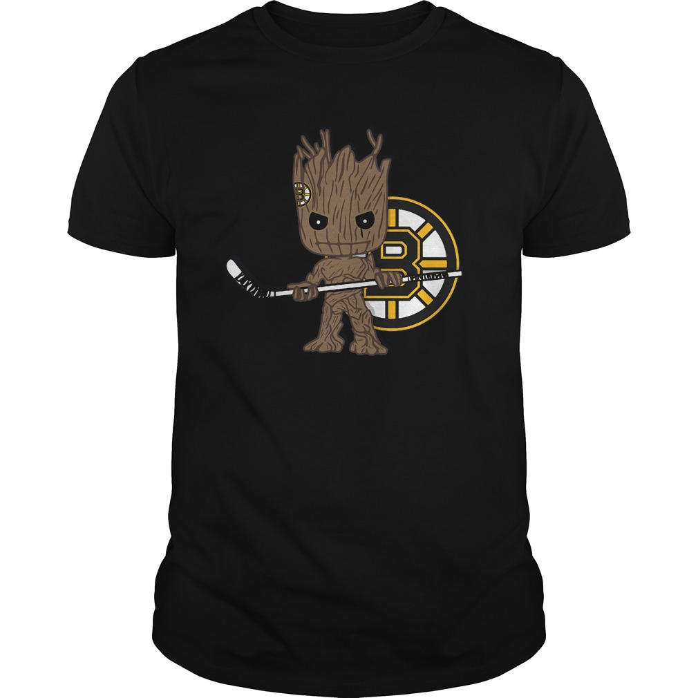 Baby Groot I Am Ice Hockey Player Team Boston Bruins T-Shirt Guys Tee