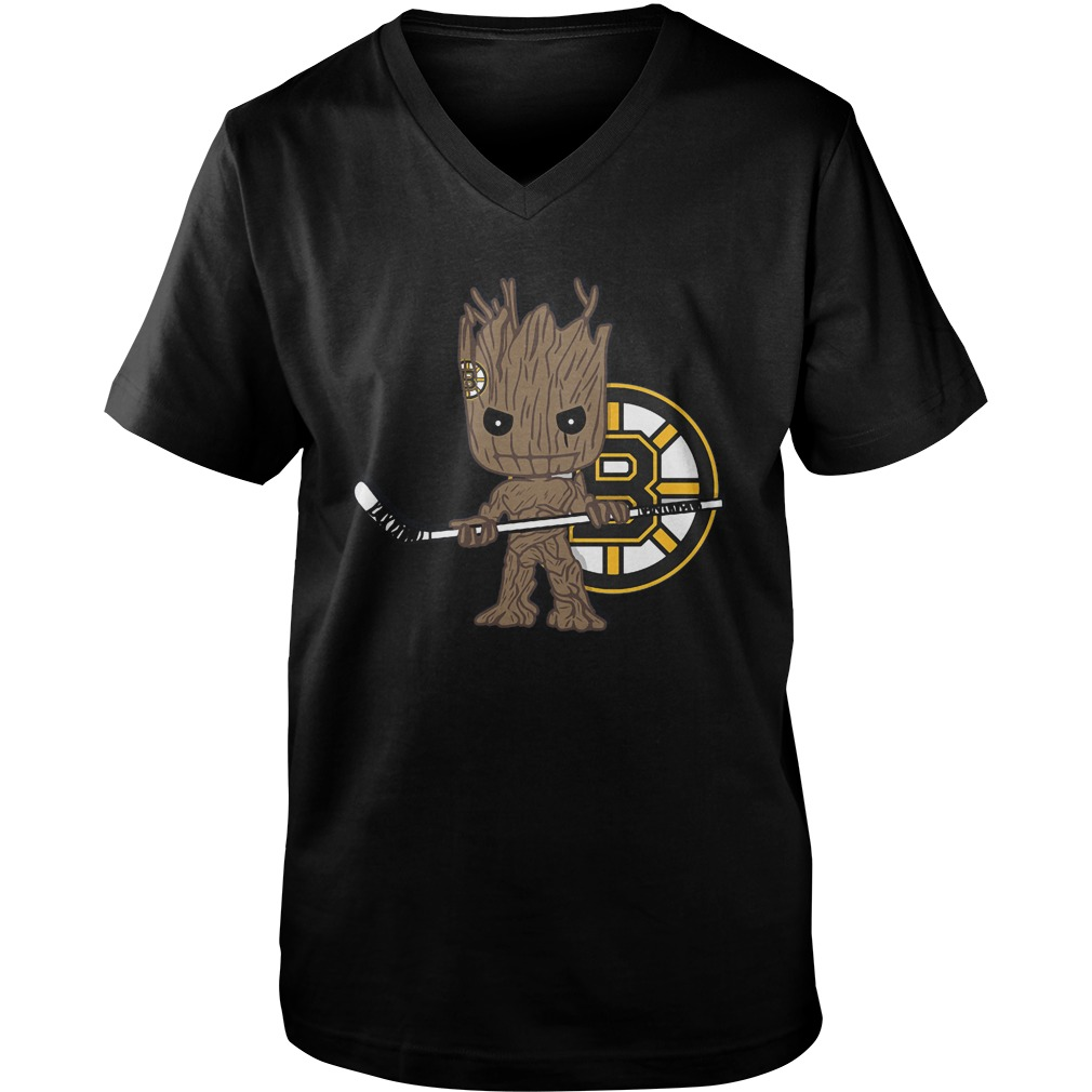 Baby Groot I Am Ice Hockey Player Team Boston Bruins T-Shirt Guys V-Neck