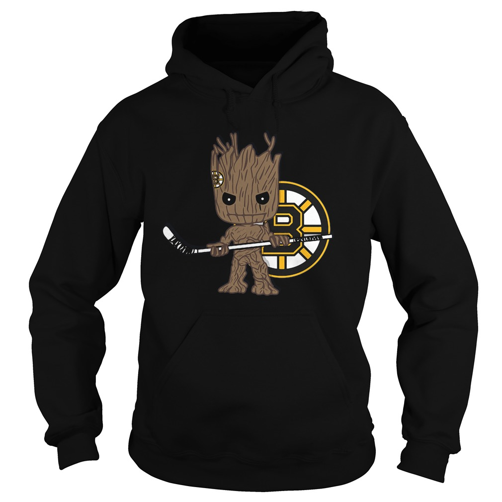 Baby Groot I Am Ice Hockey Player Team Boston Bruins T-Shirt Hoodie