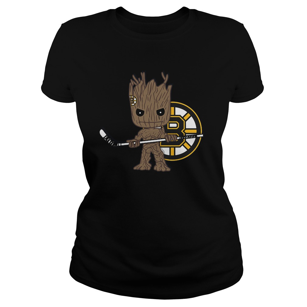 Baby Groot I Am Ice Hockey Player Team Boston Bruins T-Shirt Ladies Tee