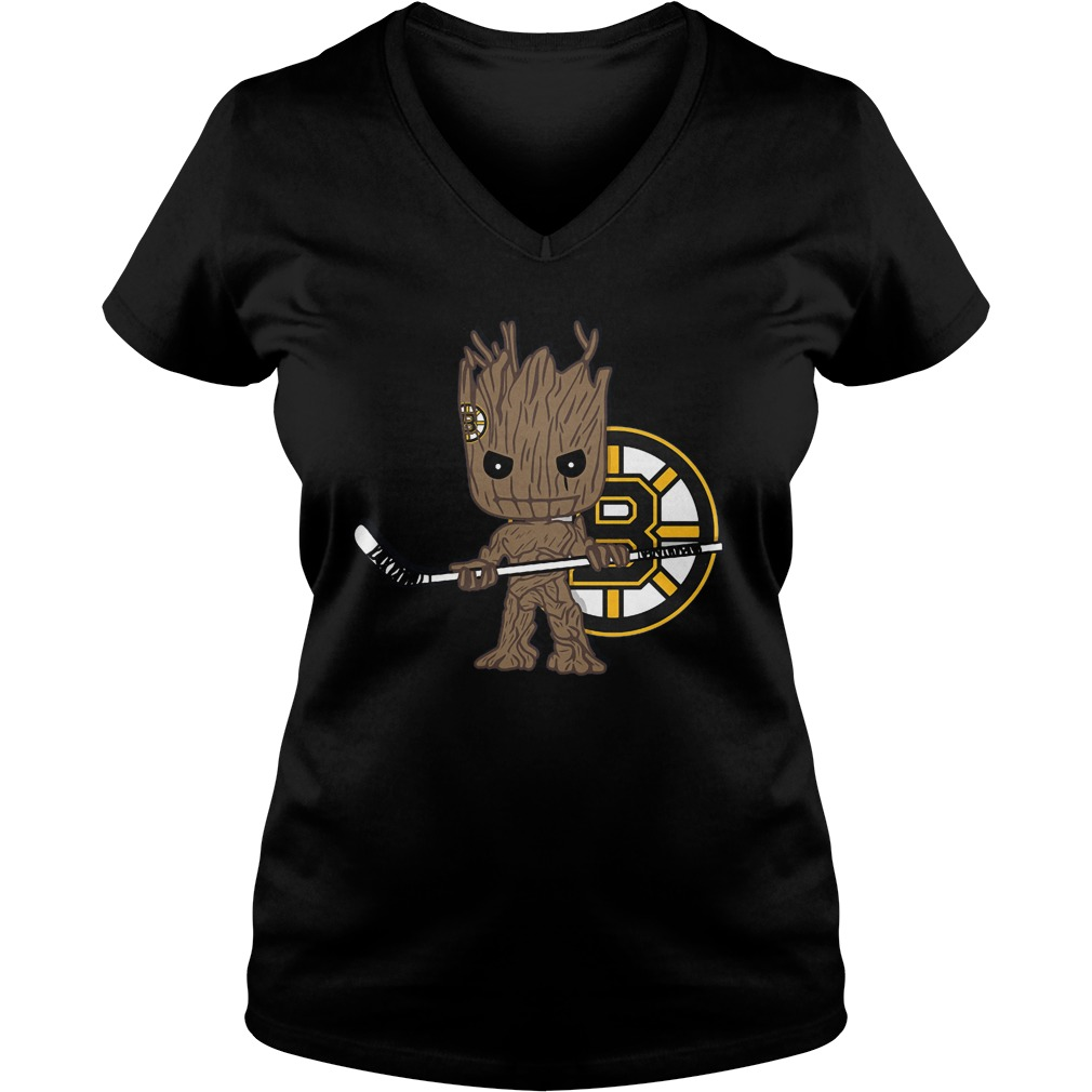 Baby Groot I Am Ice Hockey Player Team Boston Bruins T-Shirt Ladies V-Neck