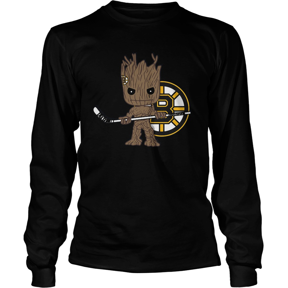 Baby Groot I Am Ice Hockey Player Team Boston Bruins T-Shirt Unisex Longsleeve Tee