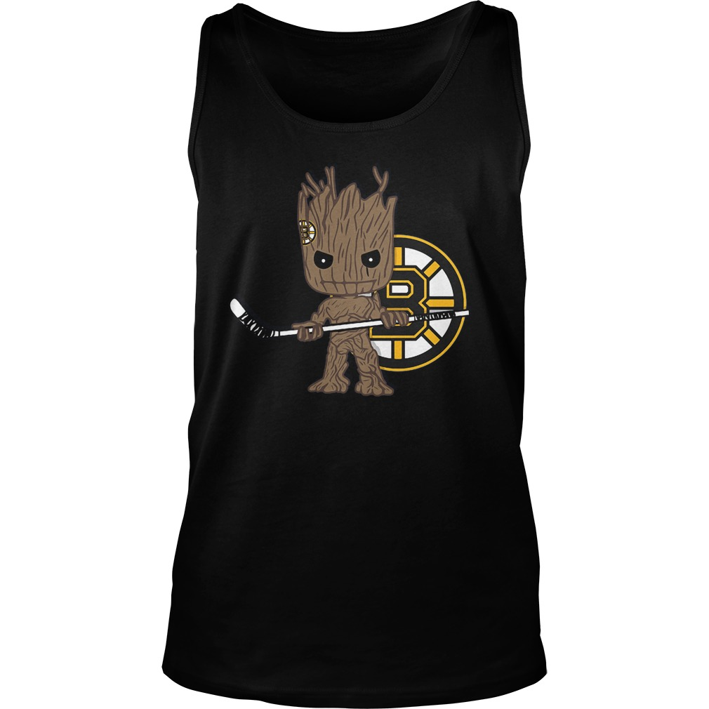 Baby Groot I Am Ice Hockey Player Team Boston Bruins T-Shirt Unisex Tank Top