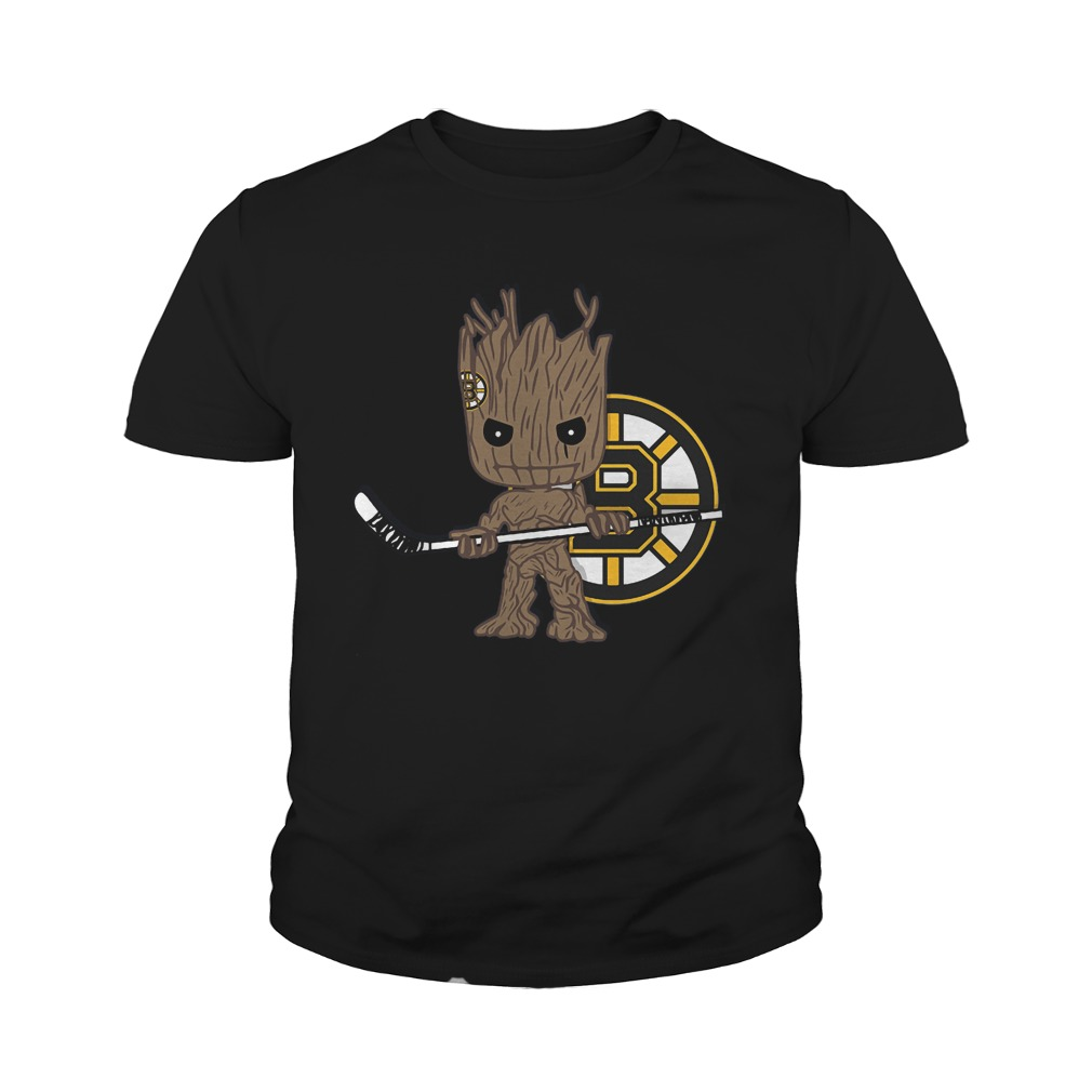 Baby Groot I Am Ice Hockey Player Team Boston Bruins T-Shirt Youth Tee