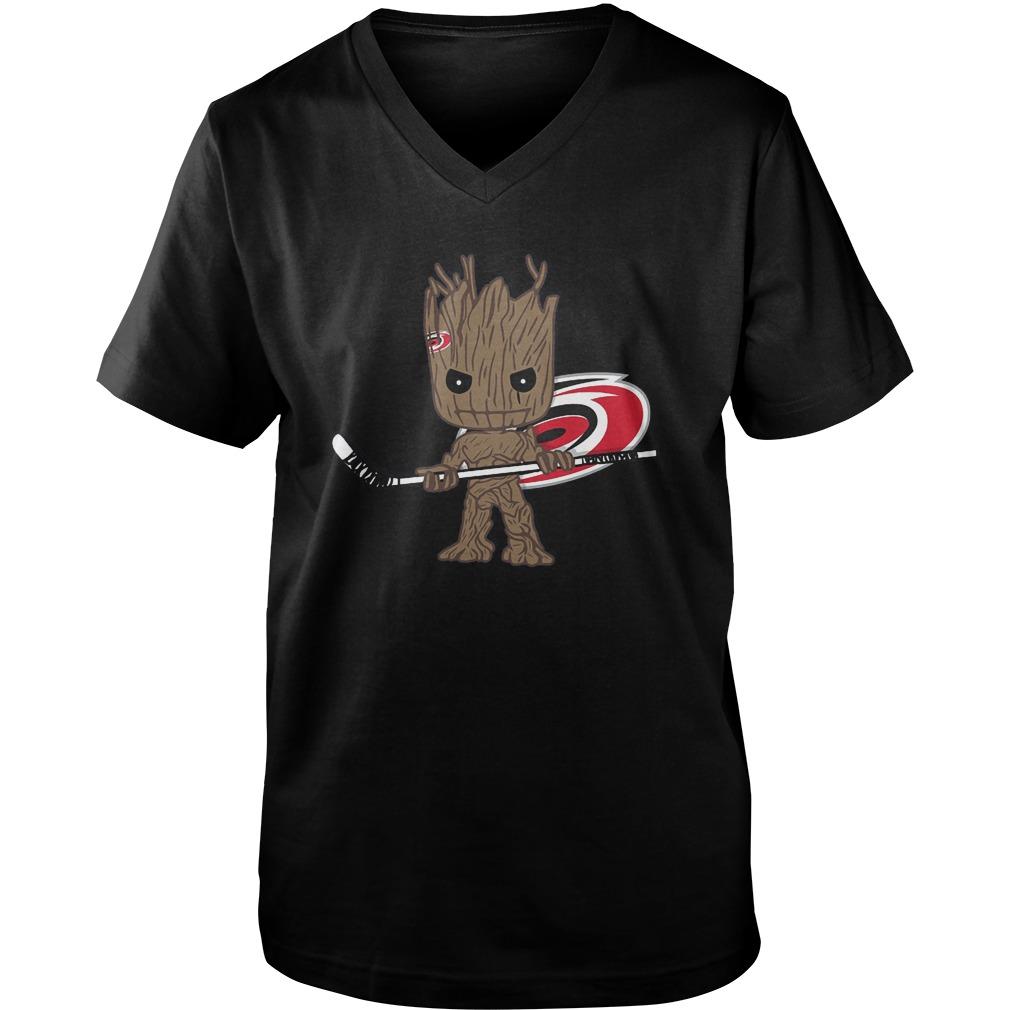 Baby Groot I Am Ice Hockey Player Team Carolina Hurricanes T-Shirt Guys V-Neck