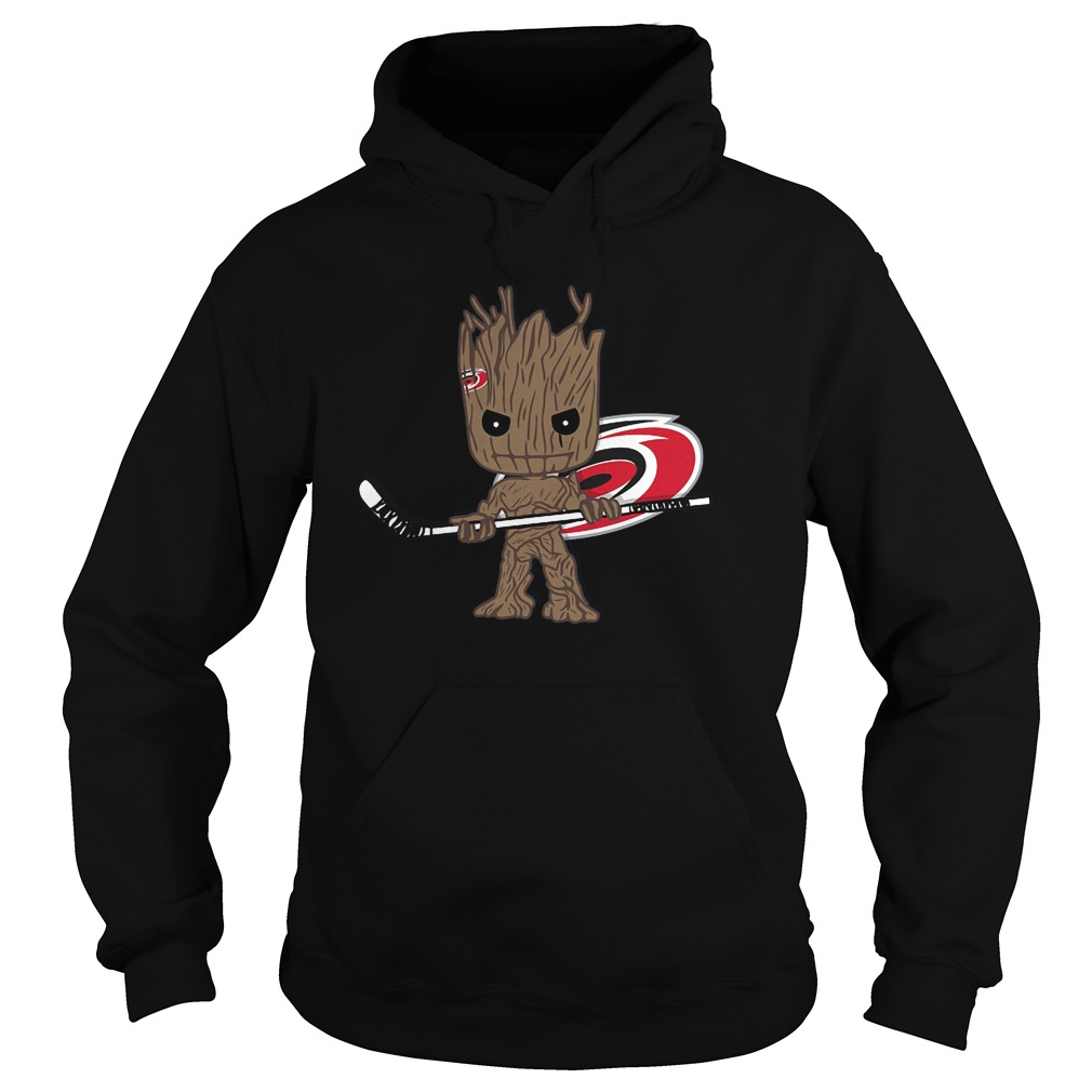 Baby Groot I Am Ice Hockey Player Team Carolina Hurricanes T-Shirt Hoodie