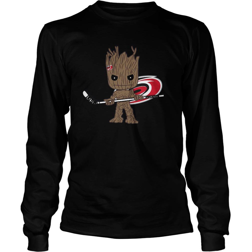 Baby Groot I Am Ice Hockey Player Team Carolina Hurricanes T-Shirt Unisex Longsleeve Tee